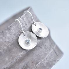 Aquamarine Earrings, Aquamarine Gemstone, Blue Earrings, Round Earrings, Gemstone Earrings, Sterling Silver Earrings, Handmade Jewellery, Jewelry Gifts, Birthday Gemstones