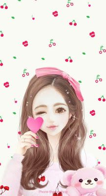 Find images and videos about cute, pink and art on We Heart It - the app to get lost in what you love. Anime Korea, Korean Anime, Beautiful Drawings, Cute Drawings, Beautiful Images, Girl Cartoon, Cute Cartoon, Cute Kawaii Girl, Lovely Girl Image