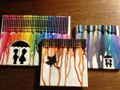 Melted Crayon Art - Tips and Tricks. ...i don't usually like this, but I kinda want to do the umbrella one... Cute Crafts, Creative Crafts, Diy And Crafts, Arts And Crafts, Crayon Crafts, Crayon Art, Diy Wall Art, Diy Art, Love Canvas Painting