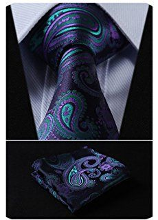 HISDERN Paisley Tie Handkerchief Woven Classic Men/'s Necktie And Pocket Square