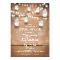 rustic mason jars with lights bridal shower invite x invitation card Hanging Mason Jars, Rustic Mason Jars, Mason Jar Lighting, Rustic Bridal Shower Invitations, Bridal Shower Rustic, Rustic Wedding, Wedding Ideas, Wood Invitation, Invite