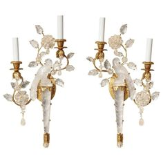 Pair of New Two-Light Rock Crystal Sconces | 1stdibs.com