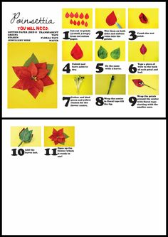 DIY paper poinsettia. Use paints to add detail on the petals.