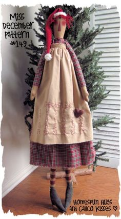 ``Miss December``...make her big with Apron for Advent Calendar ..or small for counter, tree or wall``<3