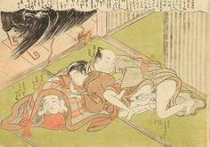 HARUNOBU (vers 1724 - 1770)  Chuban yoko-e, ébats d'amants illégitimes lors d'un orage pendant que l'époux se cache de peur sous une couverture le séparant du couple.