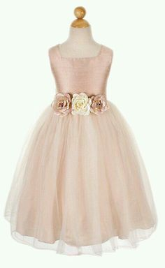 My Flower Dresses Dusty Rose Silk Bodice With Tulle Skirt Dress