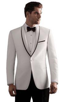 Ike Behar Waverly White Shawl collar,One button, Black Trim Tuxedo. Ivory Tuxedo, White Tuxedo, Tuxedo Suit, Tuxedo For Men, Tuxedo Jacket, Suit Jacket, Prom Tuxedo, Tuxedo Wedding, Wedding Tuxedos