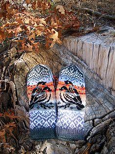 Bullfinch Mittens pattern by Natalia Moreva Knitted Mittens Pattern, Knit Mittens, Knitted Gloves, Knitting Socks, Hand Knitting, Hand Warmers, Wrist Warmers, Knitting Charts, Knitting Patterns