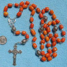 Rare genuine sea coral and sterling silver rosary