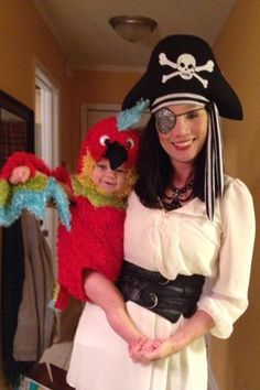 Ahoy, Matey: Haley Willis Little donned pirate garb and dressed little Eli as her parrot.