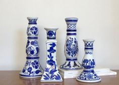 Vintage Blue White Candle Holders Ceramic by ModRendition on Etsy