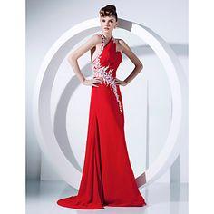 Prom/Formal Evening Dress A-line/Princess Halter Sweep/Brush Train Chiffon Dress – USD $ 149.99