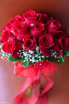 Red Roses and Baby's-breath Bridal Bouquet