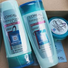 #extraordinary clay #loreal Received these products complimentary from Influenster to test them out! It works amazingly on oily roots, dry ends hair. You begin by applying the clay into your roots and then shampoo/condition with the last 2 products as normal. I tried the 48-hour challenge and these products left my hair non-oily and fresh the whole time.