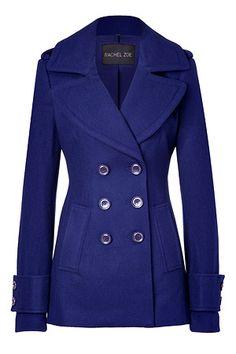 Royal Blue Wool-Blend Fay Pea Coat by RACHEL ZOE | Luxury fashion online | STYLEBOP.com