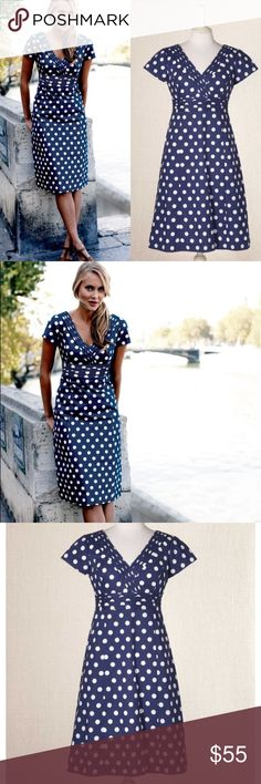 🎉Boden Regatta Polka Dot Dress Navy Blue White 6 Boden Regatte Dress Size 6 Navy blue with white polka dots  A versatile dress with a V-front and a V-back too Outer 100% cotton. Lining 100% cotton. Machine washable Flattering fit and flare dress Lower v-shape back neck drop Short sleeves Length finishes at knee Soft pleat detail on front and back waist Pleat detail at neckline Concealed side zip  In very good condition   Please ask any questions  💲Price is firm unless bundled💲 🚫No…