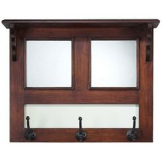 Mirror and Wood Coat Hanger Wall Hook