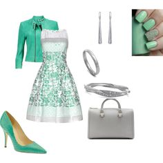 """Green and Silver"" by dontana-danielle on Polyvore"