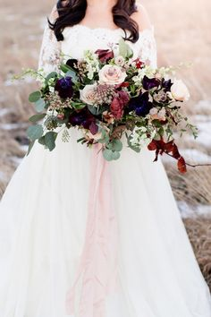 Vibrant Winter Bridal Bouquet for an Epic Elopement in the Mountains