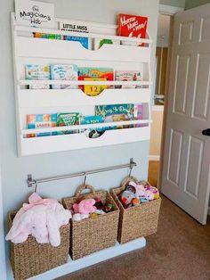Ordenar los juguetes: Doble almacenaje en la pared