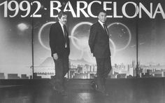 P. Maragall y F. González en la oficina olímpica, 1986. AFB. Pérez de Rozas Barcelona, Concert, Postcards, Fictional Characters, Historia, Barcelona Spain, Concerts, Festivals, Fantasy Characters