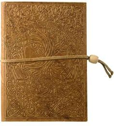Embossed Brown Celtic Tree Design Italian Leather Journal with Bead Tie - $29.95 at Barnes and Noble