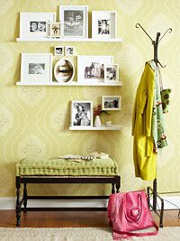 Hallway Decorating Ideas. Love the shelves with pictures!