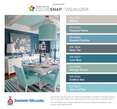 I found these colors with ColorSnap® Visualizer for iPhone by Sherwin-Williams: Alpaca (SW Peacock Plume (SW Bluebird Feather (SW Slate Tile (SW Loch Blue (SW Vintage Vessel (SW Endless Sea (SW After the Rain (SW Paint Color Combos, Room Color Schemes, Paint Colors For Home, Room Colors, House Colors, Blue Colour Palette, Interior Paint, House Painting, Colorful Interiors