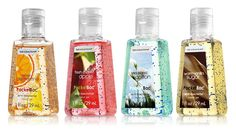 Pocketbac hand sanitizers from Bath and Body Works. So handy...and they smell awesome!