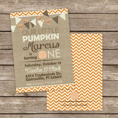 Printable pumpkin birthday invitation kids october and fall 25 printed fall halloween little pumpkin birthday party invitations burlap and chevron design filmwisefo