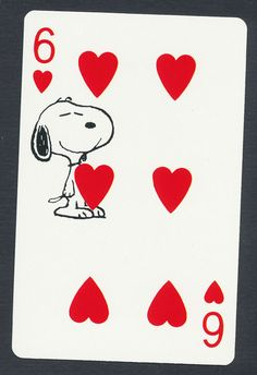 Snoopy playing card single swap six of hearts - 1 card