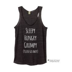 Sleepy Hungry Grumpy Please Go Away Tri Blend Tank Top Alternative... ($20) ❤ liked on Polyvore featuring tops, dark olive, tanks, women's clothing, sexy tanks, purple tank, sexy tank tops, sexy shirts and purple checkered shirt