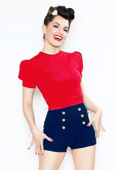 Rockabilly Girl by Bernie Dexter**Red 40's Style Pin Up Grable Top - XS-XL [Item#20513R-GRABLE] $50.00