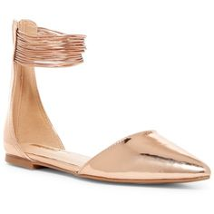 LILIANA Ivy Pointed Toe Ankle Strappy Flat ($20) ❤ liked on Polyvore featuring shoes, flats, rose gold, monk-strap shoes, pointed toe flat shoes, pointed-toe flats, pointed-toe ankle-strap flats and liliana shoes