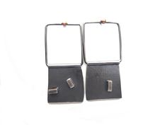 square silver and 18ct gold earrings