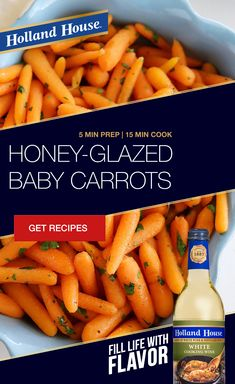Enhance your Thanksgiving meal with a deceptively simple but delicious side dish. Use Holland House White Cooking Wine in this Honey-Glazed Baby Carrots recipe from our friends at the The Comfort of Cooking. collection ad inspiration about dinner recipes Cooking With White Wine, Cooking Wine, Side Dish Recipes, Vegetable Recipes, Recipes Dinner, Glazed Baby Carrots, Baby Carrot Recipes, Healthy Snacks, Healthy Recipes