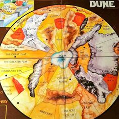 The Dune gaming board. You fight for control of this hemisphere of Arrakis #Dune #scifi #boardgames by dandavisauthor