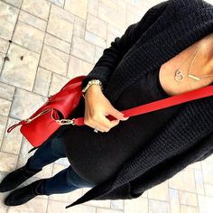 IG @mrscasual <click through to shop this look> BP black cardigan sweater.  Black tee.  Maternity skinny jeans.  Ankle booties.  Red Phillip Lim Pashli.  Miracle links necklace. Initial gold bar necklace.