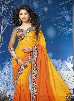 Orange & Yellow Chiffon Jacquard Saree In Half & Half . Shop at - http://www.gravity-fashion.com/women/saree/orange-yellow-chiffon-jacquard-saree-in-half-half-gf8140326.html