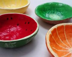 Mini Paper Mache Fruit Bowls