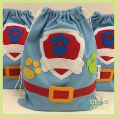 lembrancinha Festa infantil Patrulha Canina Rubble Paw Patrol, Paw Patrol Party, Favor Bags, Gift Bags, Paw Patrol Birthday Decorations, Boy Birthday, Birthday Parties, Candy Bags, Baby Party