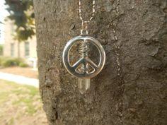 Peace Sign Quartz Pendulum Necklace by HelenDeesArtistries on Etsy, $16.00