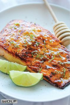 Honey Glazed Salmon And that browned butter lime sauce is to die for! - from Damn Delicious Fish Dishes, Seafood Dishes, Seafood Recipes, Dinner Recipes, Cooking Recipes, Healthy Recipes, Roshashana Recipes, Healthy Gourmet, Easy Fish Recipes
