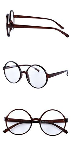 ba93ceb2d33 Agstum Retro Round Glasses Frame Clear Lens Fashion Circle Eyeglasses 52mm  (Brown