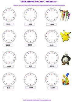 Schede didattiche per imparare a leggere l'ora