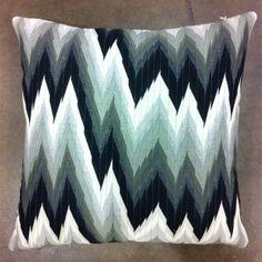 black & white flame stitch pillow