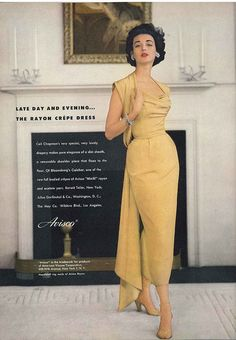 Dorian Leigh is wearing Ceil Chapman's slim sheath with removable shoulder piece in an ad for Avisco, as seen in Vogue Nov. 1952 Dorian Leigh is wearing Ceil Chapman's slim sheath with re… Moda Retro, Moda Vintage, Vintage Vogue, Vintage Glamour, Vintage Woman, Look Fashion, Fashion Models, Fashion Design, Cheap Fashion