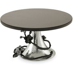 "Michael Aram ""Black Orchid"" Cake Stand ($250) ❤ liked on Polyvore featuring home, kitchen & dining, serveware, black nickel plate, michael aram serveware, michael aram, black cake stand, michael aram cake stand and black cake stands"