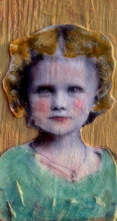 """Franny """"Tall Girl """" on found wood  mixed media portrait painting by MaudstarrArt,"""