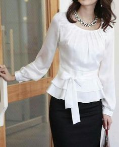 The blouse is very shaping paired with a pencil skirt. Classy.